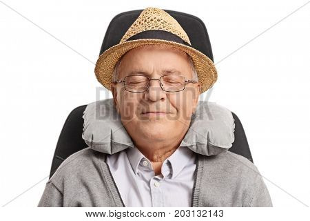 Mature man with a neck pillow sleeping in a seat isolated on white background