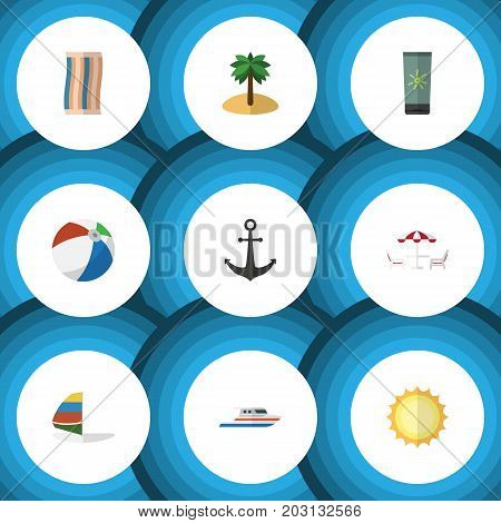 Flat Icon Summer Set Of Recliner, Surfing, Boat And Other Vector Objects