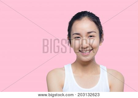 Beautiful Young Woman On A White Background, Beauty Concept.