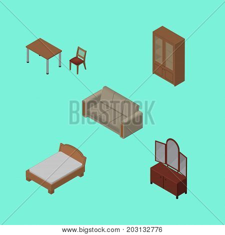 Isometric Design Set Of Chair, Couch, Bedstead And Other Vector Objects
