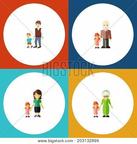 Flat Icon Family Set Of Grandpa, Grandchild, Boys Vector Objects