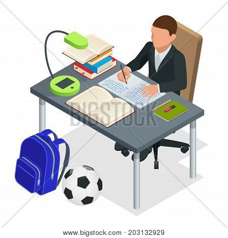 Isometric young people and student concept. A boy of 6-8 years old the student sits at the table and writes. Homework or Lesson. Isolated on white background.