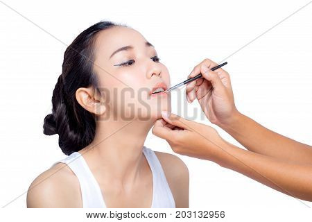 Beautiful Woman With Beauty Face, Sexy Full Lips Applying Lip Balm, Lipcare Stick On. Portrait Of Fe