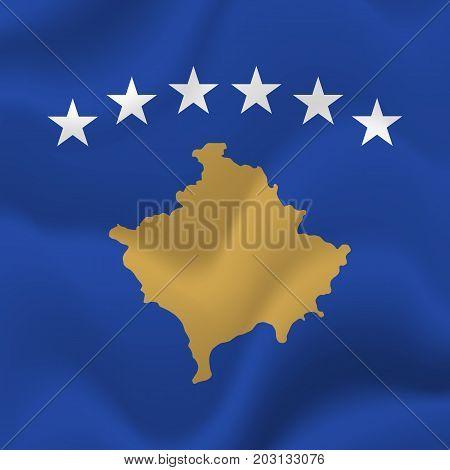 Kosovo waving flag. Waving flag. Vector illustration.
