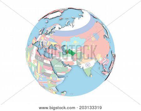 Turkmenistan On Globe Isolated