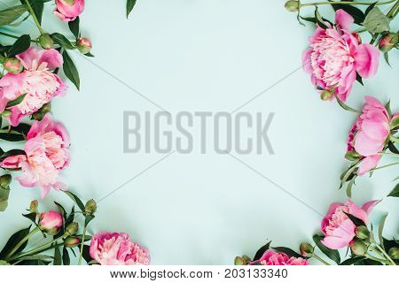 Frame wreath of pink peony flowers branches leaves and petals with space for text on blue background. Flat lay top view. Peony flower texture.