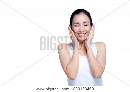 Beauty Model Woman With Hands On Cheeks Looking At Camera With A Smile Expression In A Beauty And Sk