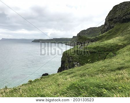 Northern Ireland path to carrick-a-rede views and landscape