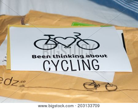 paper poster been thinking about cycling campaign graphic resource; Essex; England; UK