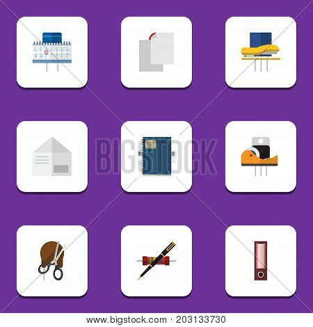 Flat Icon Stationery Set Of Dossier, Nib Pen, Letter And Other Vector Objects