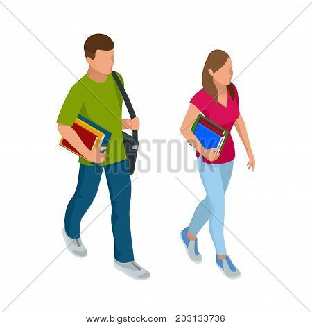 Isometric a students with gadgets and books. Isometric young people, teenagers and students. Learning, education and school concept. on white background isolated