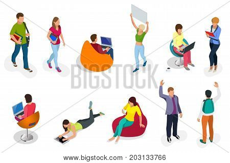 Isometric set of students with gadgets and books. Isometric young people, teenagers and students. Learning, education and school concept. on white background isolated
