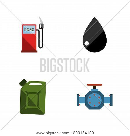 Flat Icon Oil Set Of Petrol, Droplet, Fuel Canister And Other Vector Objects