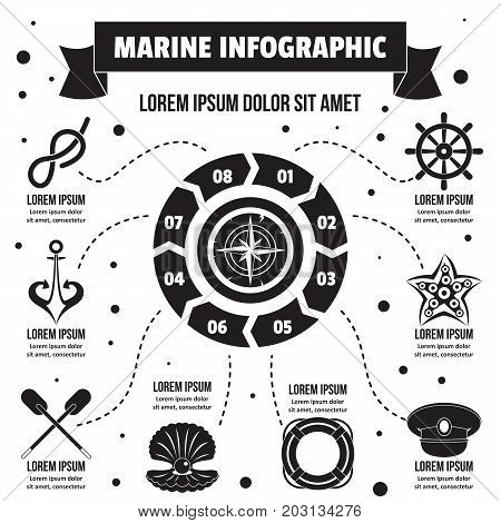 Marine infographic banner concept. Simple illustration of marine infographic vector poster concept for web