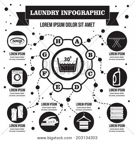 Laundry infographic banner concept. Simple illustration of laundry infographic vector poster concept for web