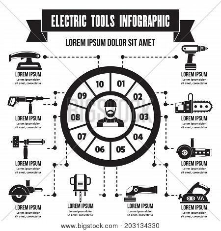 Electric tools infographic banner concept. Simple illustration of electric tools infographic vector poster concept for web