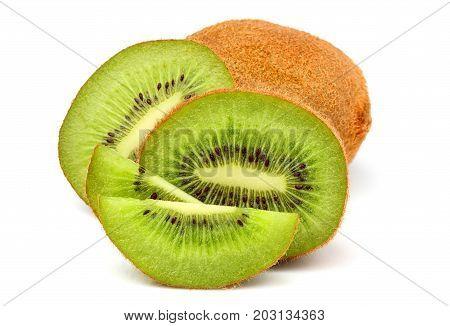 Fresh kiwi fruit close-up isolated on white background.
