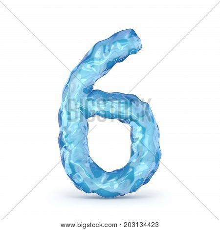 Ice Font Number 6 Six 3D