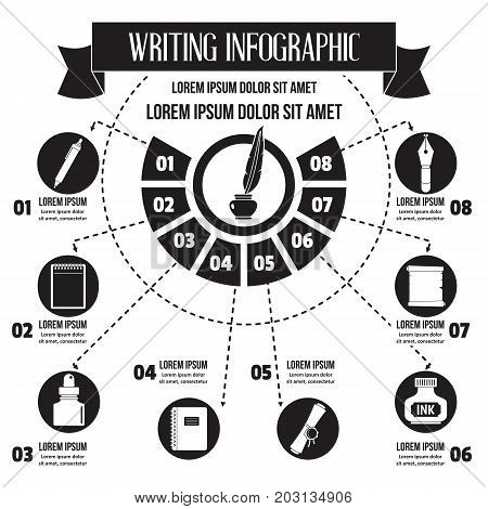 Writing infographic banner concept. Simple illustration of writing infographic vector poster concept for web