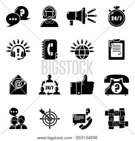Call center icons set. Simple illustration of 16 call center vector icons for web