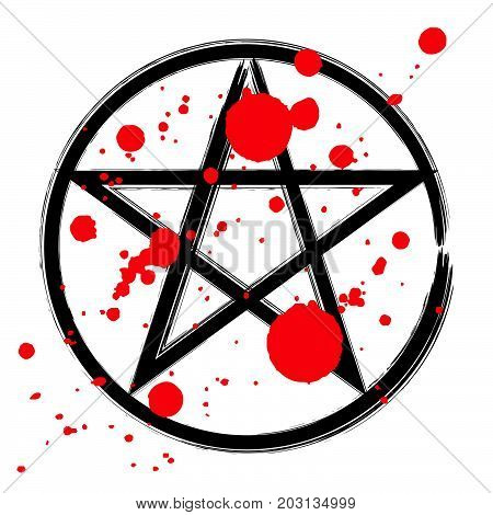 Pentagram icon brush drawing magic occult star symbol in a circle with drops of blood. Vector illustration in black and red isolated over white.