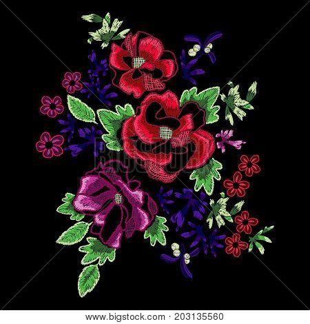 Embroidery folk pattern with fantasy simplify wild roses. Vector embroidered floral patch for clothing design.