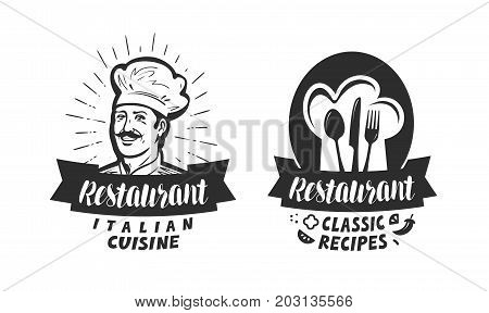 Restaurant logo. Eatery, diner, bistro label. Lettering vector illustration isolated on white background