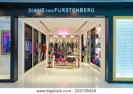 HONG KONG - DECEMBER 26, 2015: Diane von Furstenberg store at a shopping center in Hong Kong. Shopping is a widely popular social activity in Hong Kong.