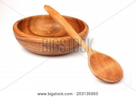Wooden utensils isolated on white background.Plate and spoon.