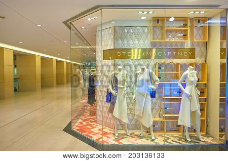 HONG KONG - OCTOBER 25, 2015: mannequins on display at a store in the Landmark shopping mall. The Landmark is one of the oldest and most prominent shopping malls in Hong Kong.