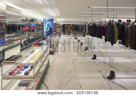 HONG KONG - OCTOBER 25, 2015: interior of Saint Laurent store. Saint Laurent Paris is a luxury fashion house founded by Yves Saint Laurent and his partner, Pierre Berge.