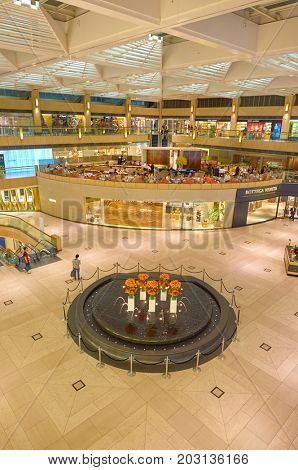 HONG KONG - OCTOBER 25, 2015: inside the Landmark shopping mall. The Landmark is one of the oldest and most prominent shopping malls in Hong Kong.