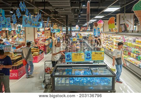 SHENZHEN, CHINA - OCTOBER 15, 2015: inside JUSCO supermarket in Shenzhen.