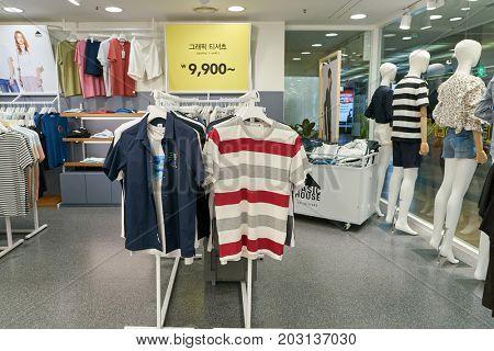 BUSAN, SOUTH KOREA - CIRCA MAY, 2017: inside Basic House store in Busan.