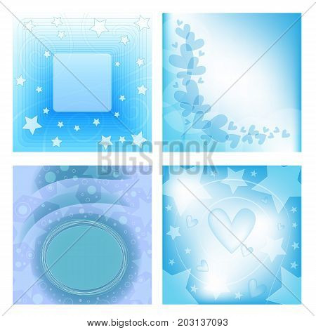 Beautiful and romantic blue and white background collection withe heart circles and stars