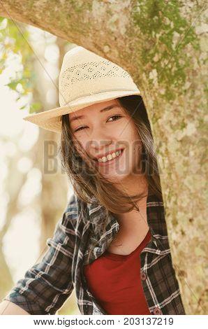 Beautiful Japanese Descendant Woman On A Nature Scene