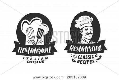 Logo of restaurant. Eatery, diner, bistro label. Lettering vector illustration isolated on white background