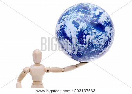 wooden model dummy with globe on head isolated on white background, eco concept
