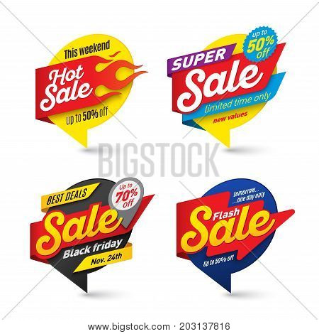 Sale banners template hot fire lightning bubbles Vector illustration set