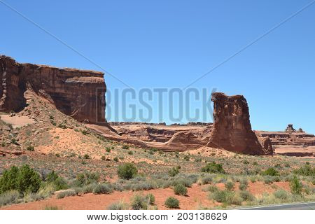 sheep rock is a well discernable formation in arches national park
