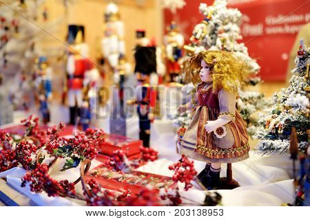 Christmas Doll Sold At Christmas Market In Vilnius, Lithuania. Decorated Shopping Stands With Variet