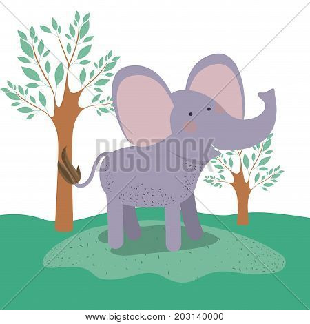 elephant animal caricature in forest landscape background vector illustration