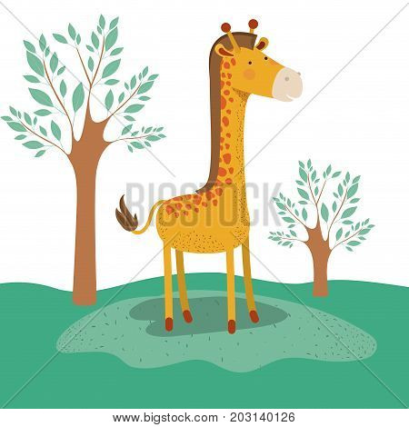 giraffe animal caricature in forest landscape background vector illustration