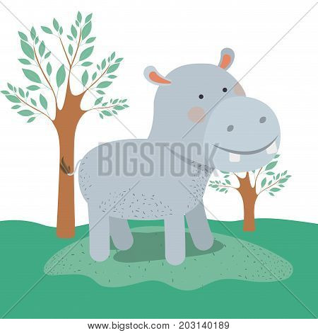 hippopotamus animal caricature in forest landscape background vector illustration