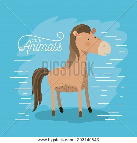 horse animal caricature in color background with lines vector illustration