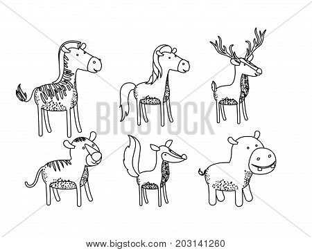 set animal caricature of wildlife in silhouette on white background vector illustration