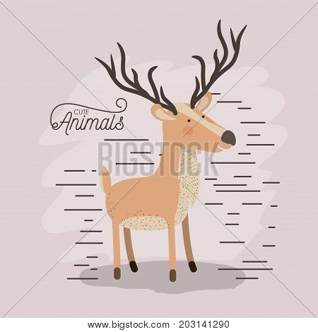 moose animal caricature in color background with lines vector illustration