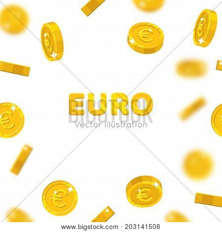 Flying gold euro cartoon frame. Background of the flying gold of euro in the form of a frame in a cartoon style. Cover gold pieces in the form of vector illustrations