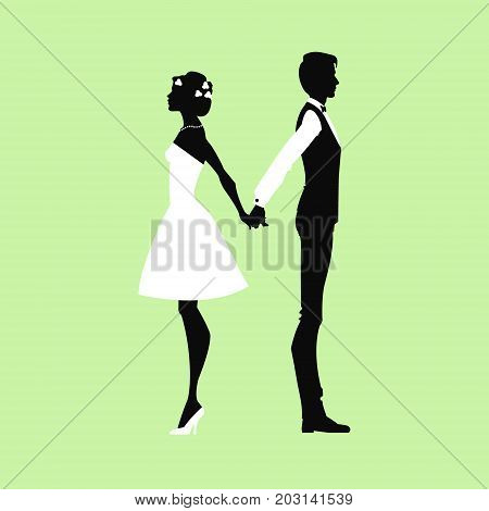 Bride standing back to back to groom. They to hold hands. silhouettes of groom and bride. Vector illustration.