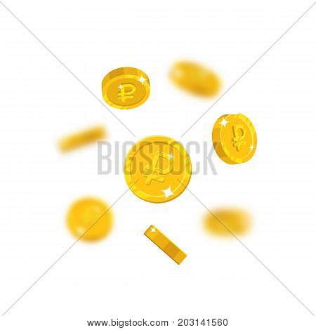 Gold rubles flying cartoon isolated. Gold rubles with the effect flying in the air in a cartoon style for designers and illustrators. Floating pieces in the form of vector illustrations
